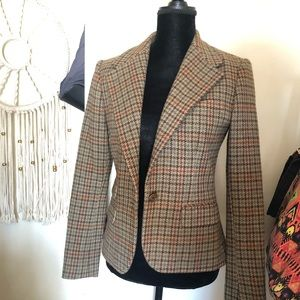RARE Vtg Ralph Lauren Blue Label Wool Plaid Blazer
